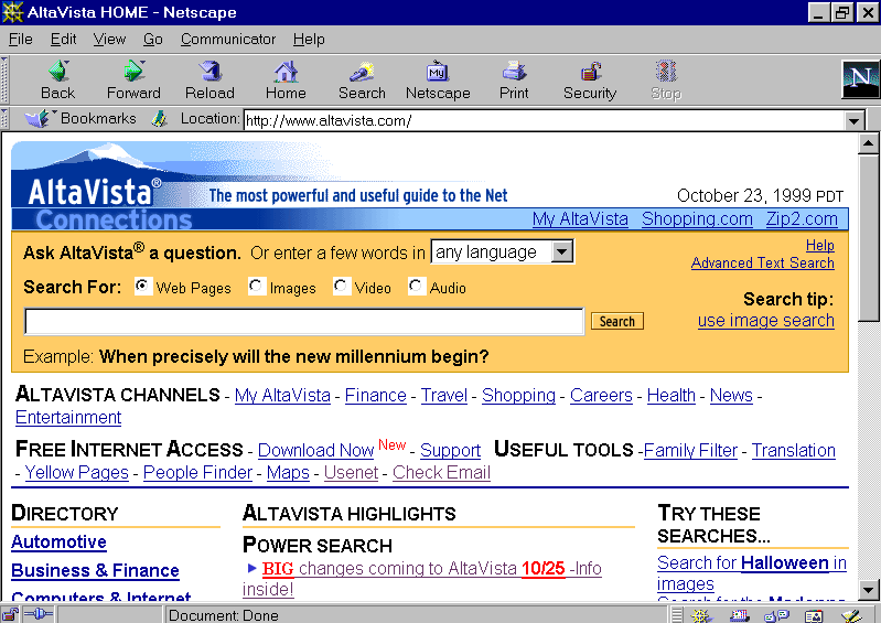 AltaVista Search Engine ca. 1999