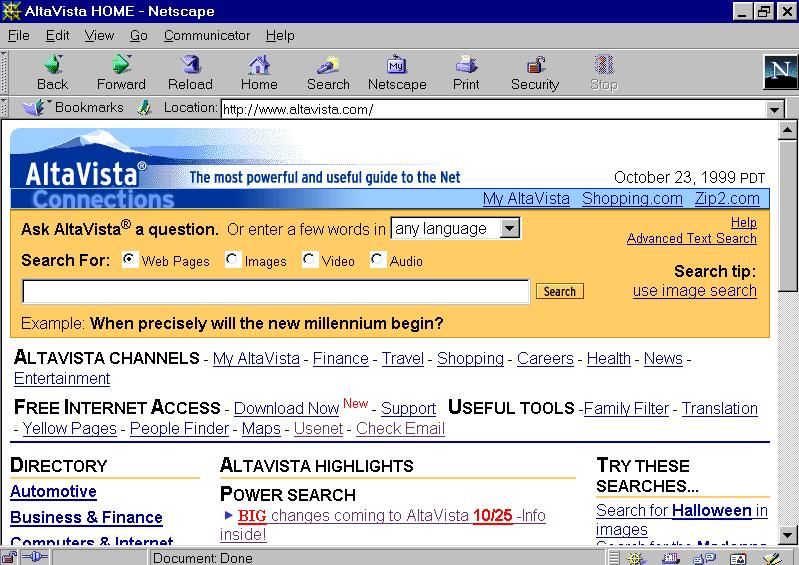 AltaVista Search Engine ca. 1999